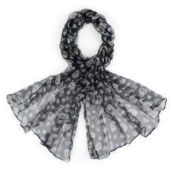Foulard mousseline de soie <br/>Ciconia Noir