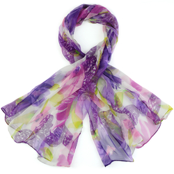 Foulard mousseline de soie <br/>Fiora violet
