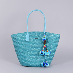 Sac plage en paille Denia Turquoise