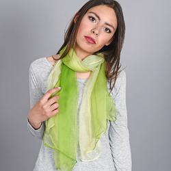 foulard mousseline soie <br/>Vert pistache dégradé