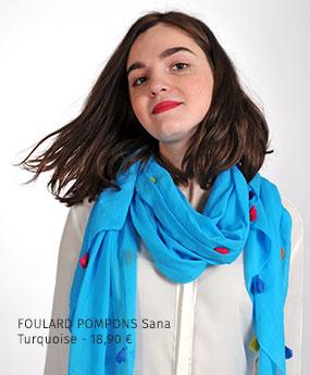 Foulard Pompons Sana Turquoise - 18,90€