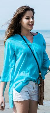 Blouse coton bleu turquoise
