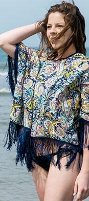 Tunique plage pancho Marine motif cachemire