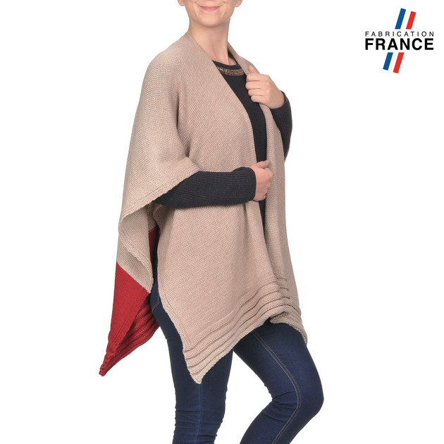 AT-03199-V16-poncho-gilet-beige-rouge-fabrication-francaise