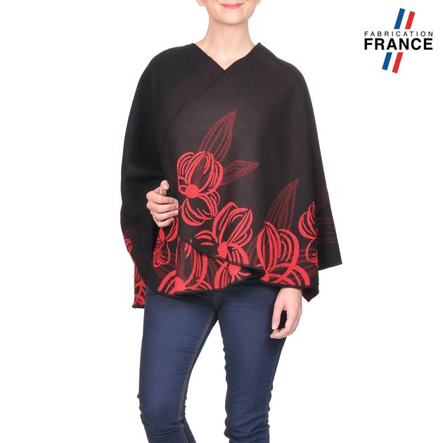 AT-03251-V16-poncho-femme-noir-fleurs-rouge-fabrique-en-france