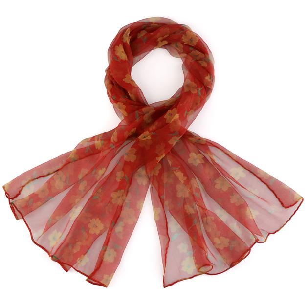 AT-03833-rouge-F16-foulard-mousseline-soie-paquerettes-jaune-sur-rouge