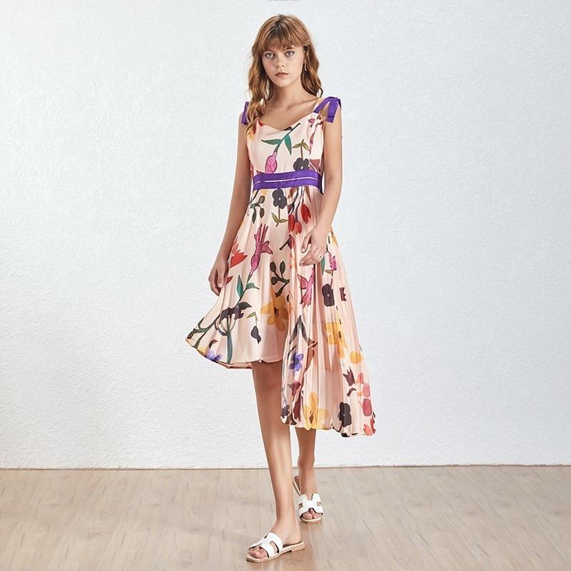 Robe Fleurie Asymétrique à Bretelles VANATA
