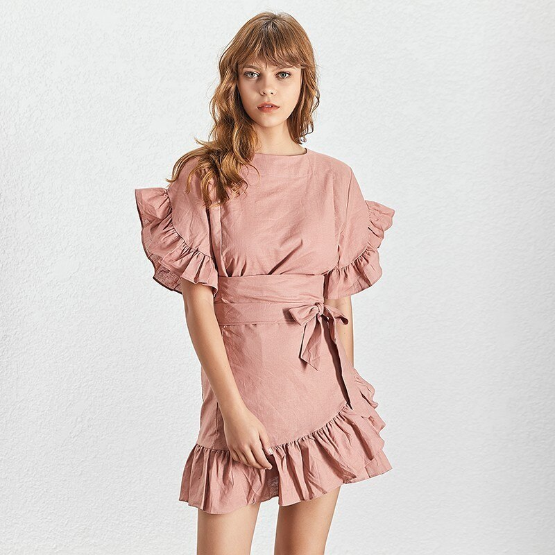 TWOTWINSTYLE-Casual-Ruffles-Women-Dress-O-Neck-Short-Sleeve-High-Waist-Lace-Up-Asymmetrical-Mini-Dresses