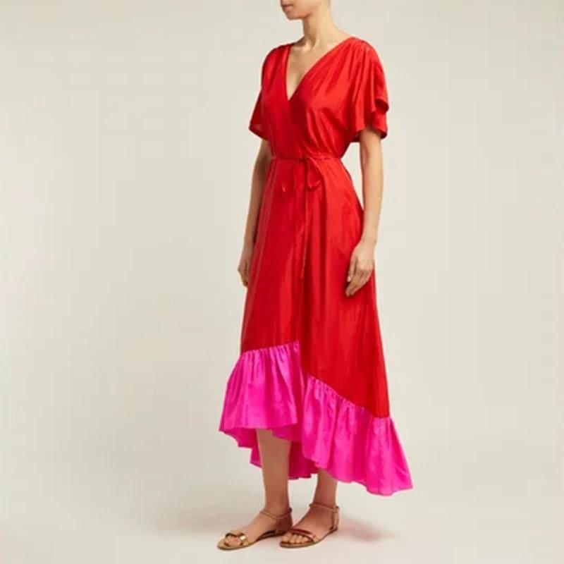 Robe Longue Bicolore Asymétrique Rose et Rouge LINE