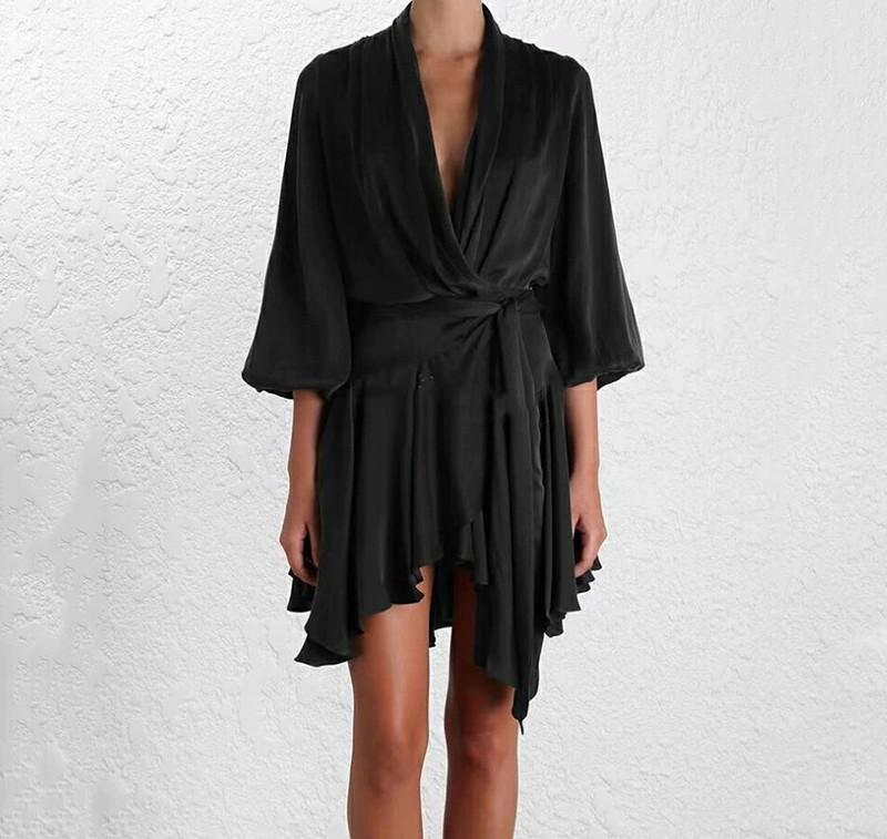Robe Satinée Volantée Asymétrique à Manches Lanternes  SYA 4 Coloris