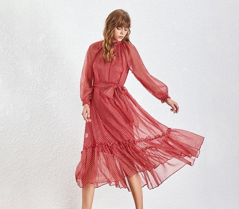 Robe Ceinturée Longue Rouge à Pois ELIZA