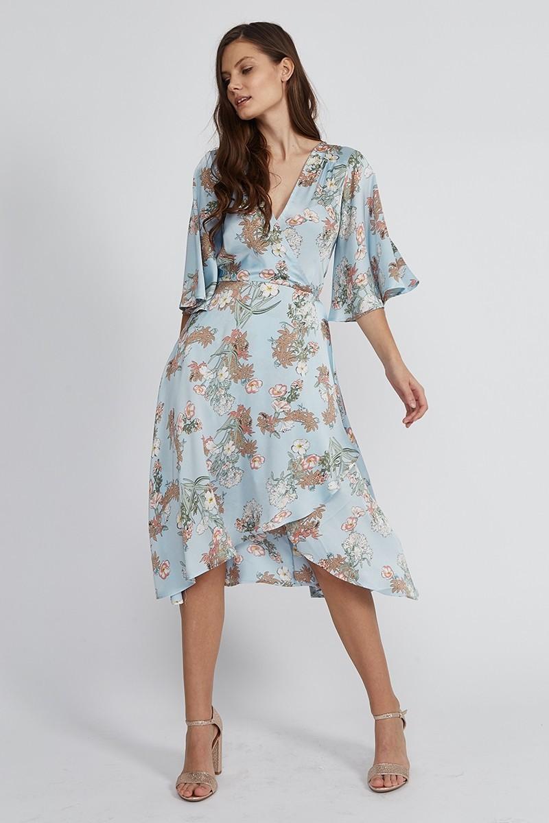 Robe Mi Longue Kimono Fleurie Bleue LUIZIA