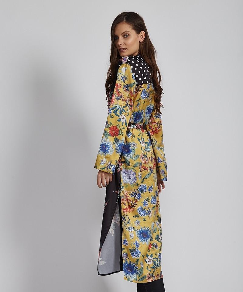 Veste Kimono Long Fleuri à Pois YUYA