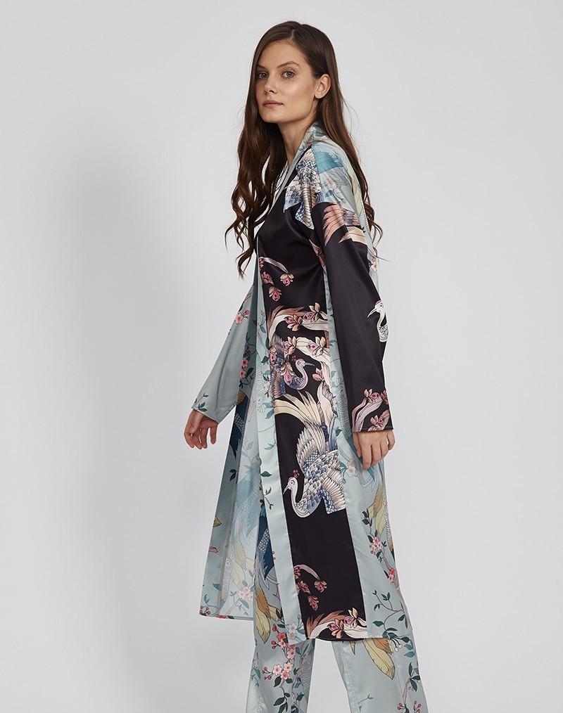 Veste Kimono Loose Mi Longue Oiseaux GRUES