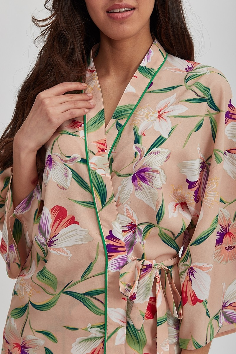 Veste Blouse Kimono Rose Fleurie LETHO