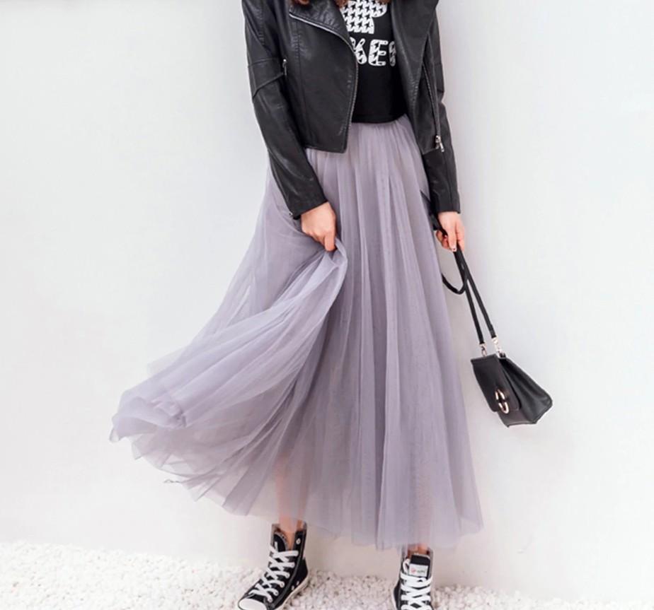 Jupe Tutu Longue Taille Haute en Tulle DIEZ 3 Coloris