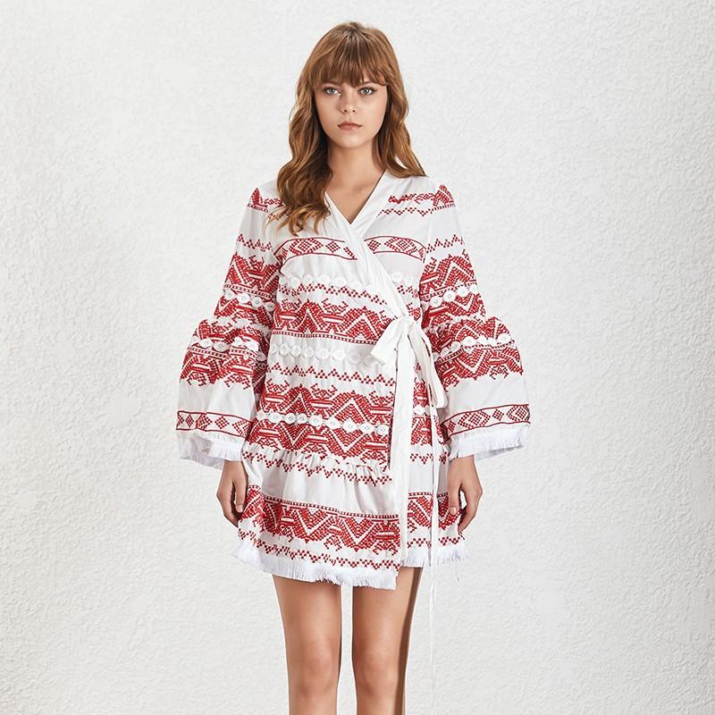 Robe Boho Courte Portefeuille Brodée RUDY 2 Coloris