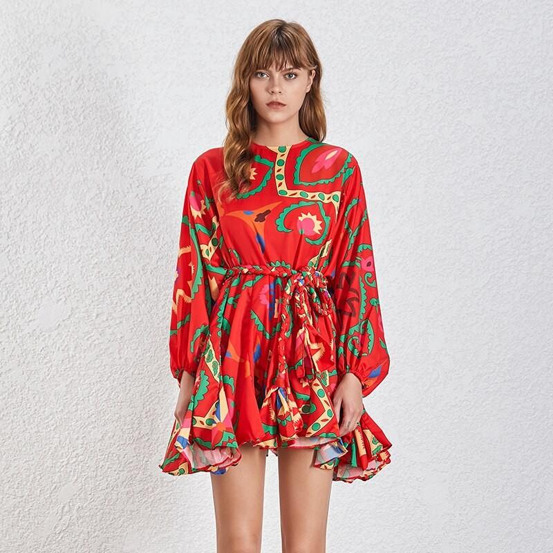 Robe Courte Rouge Imprimée Ceinturée Volantée ROG