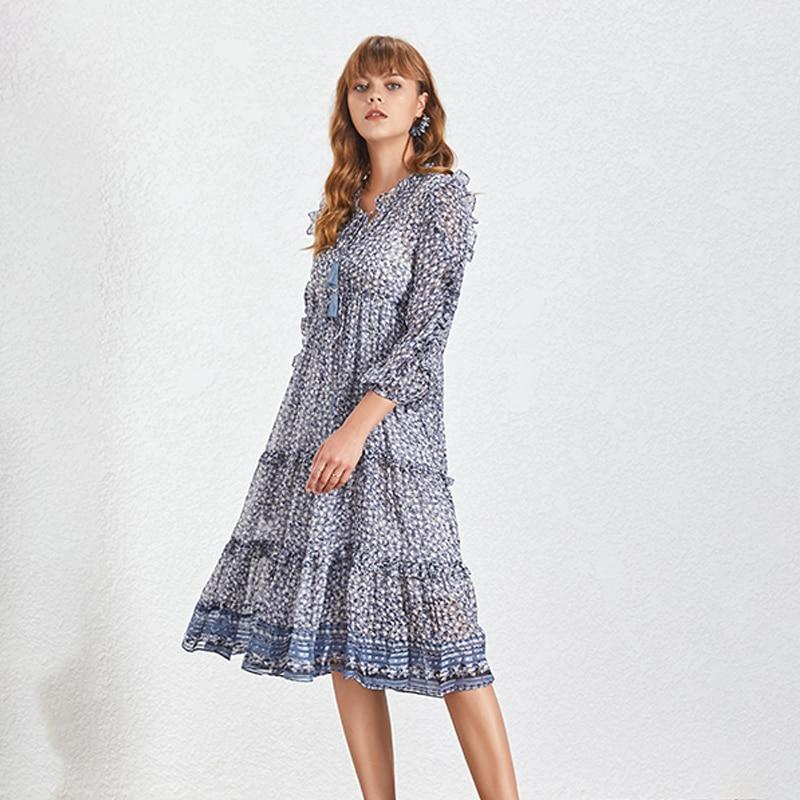 Robe Mi longue Bleue Volantée à Pompons TASSEL