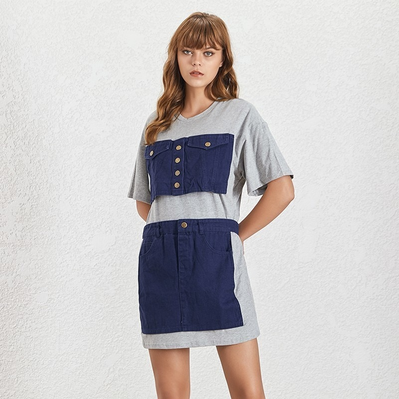 Robe Tee Shirt Courte Tablier Patchwork Denim SUE