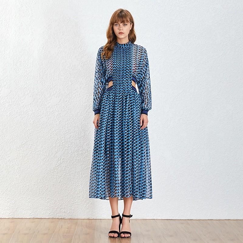 Robe Longue Bleue Géométrique à Découpes LUCK