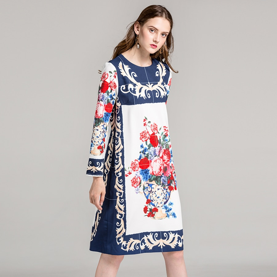 Robe Genoux Fleurie Imprimé Foulard NIKO