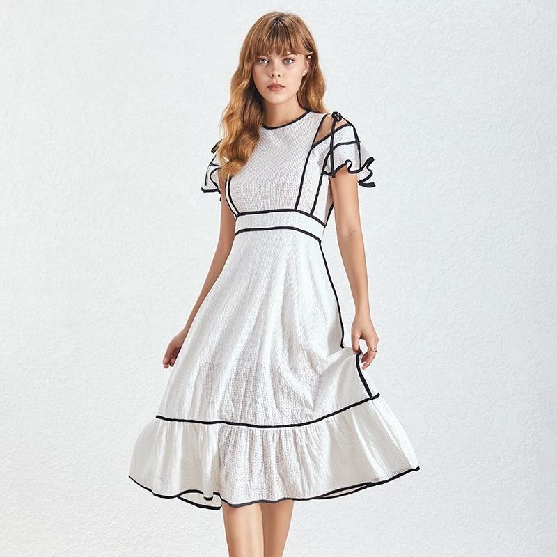 Robe Blanche Ruchée Taille Haute HANOI