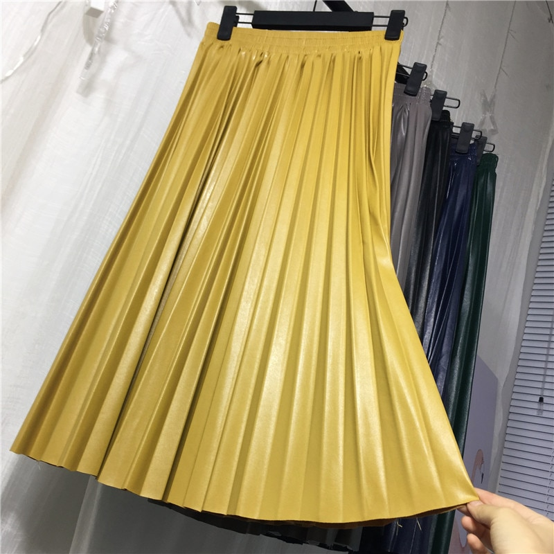 Jupe Plissée Taille Haute Simili Cuir 6 CHRYSA Coloris