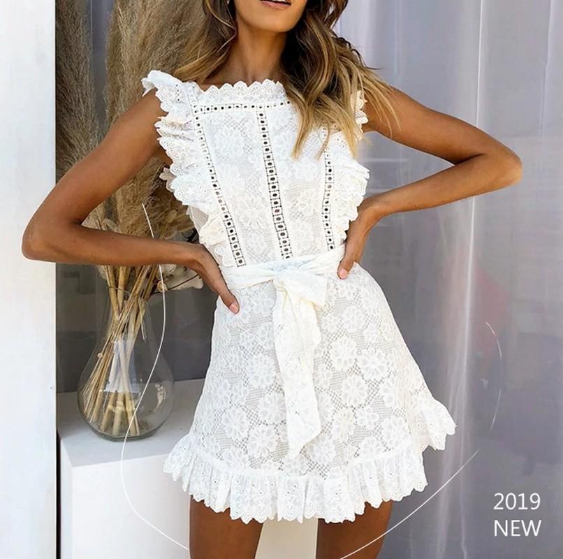 Mini Robe Boho Blanche Crochet EDWIGIA