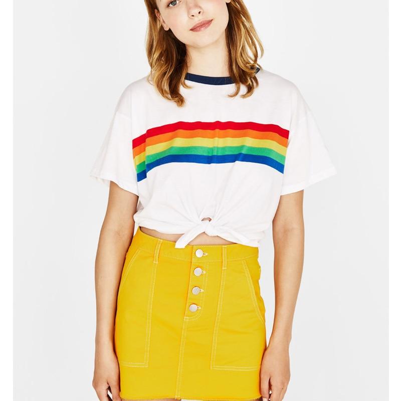 Tee Shirt Blanc Arc en Ciel Coton RAINBOW