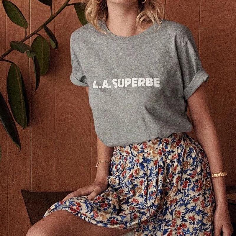 Tee-Shirt Gris Coton LA SUPERBE