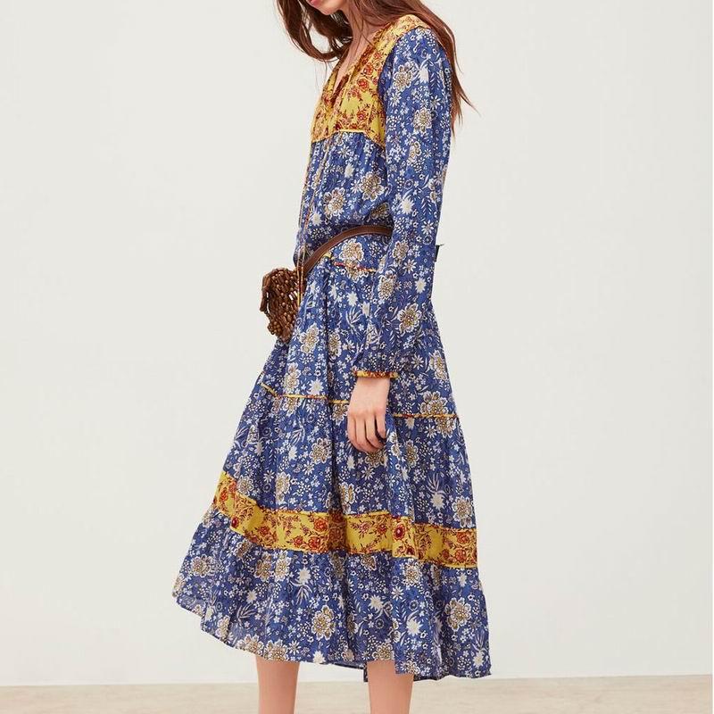Robe Longue Fleurie Bleue Boho MEANU