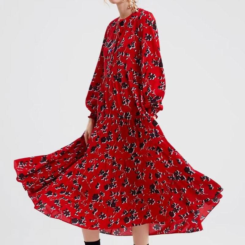 Robe Longue Boutonnée Rouge Fleurie TRUST