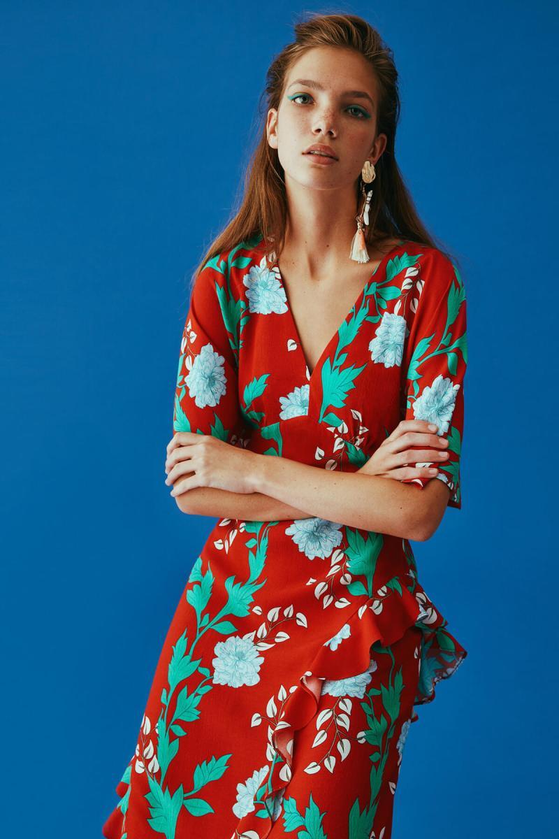 Robe Midi Rouge Fleurie Volantée NATTY