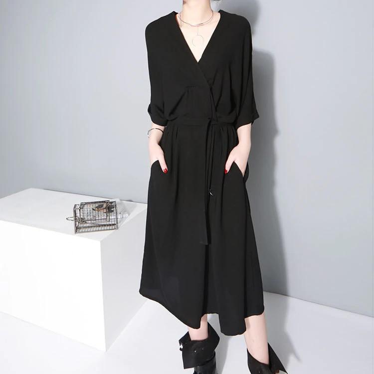 Robe Mi Longue Noire Col V à Poches JOANA