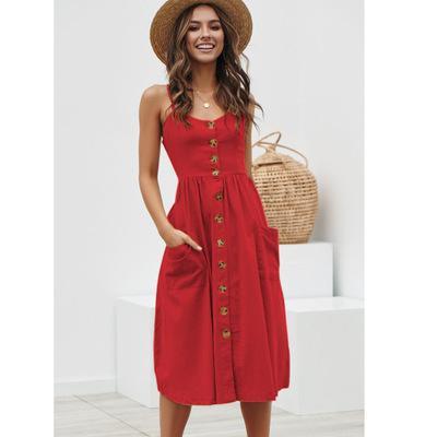 Robe Casual Coton Boutonnée à Poches NAFARA Différents Coloris