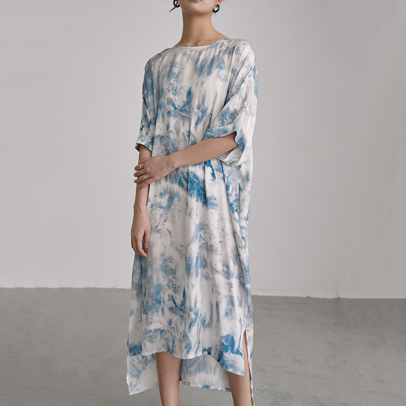 Robe Loose Longue Tye Dye Bleue PATTERN