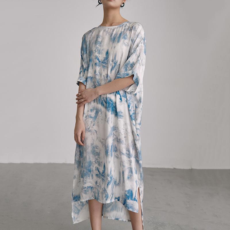 Robe Loose Longue Tye Dye Bleue PATTERN