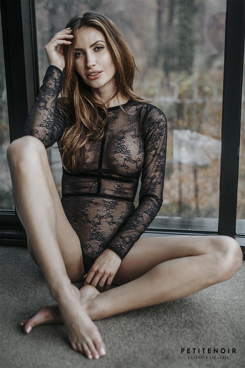 Body harnais Noir en dentelle et velours
