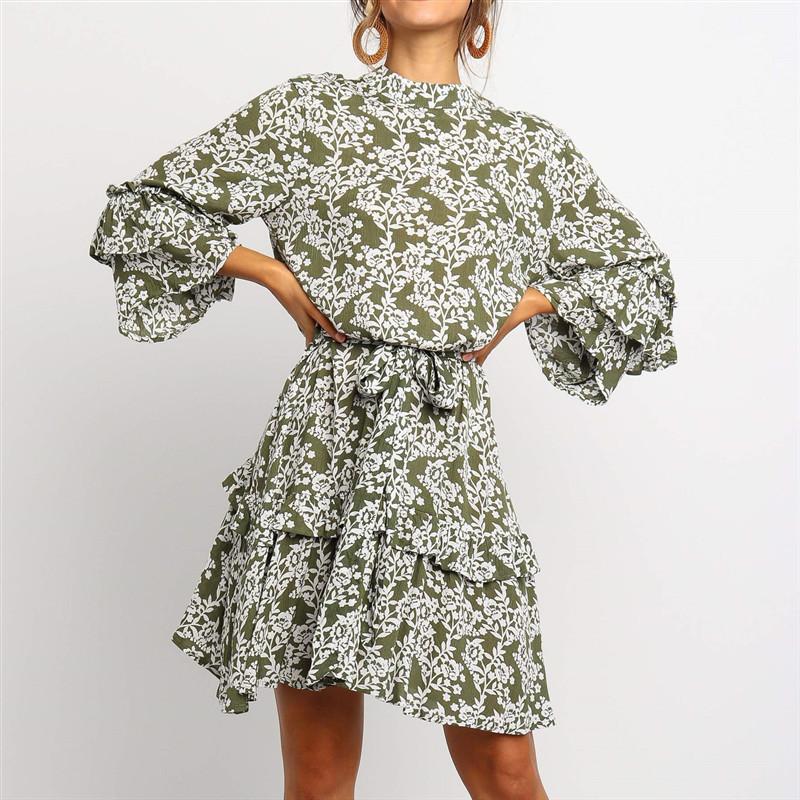 Robe Florale Verte Ceinturée Volantée EVY