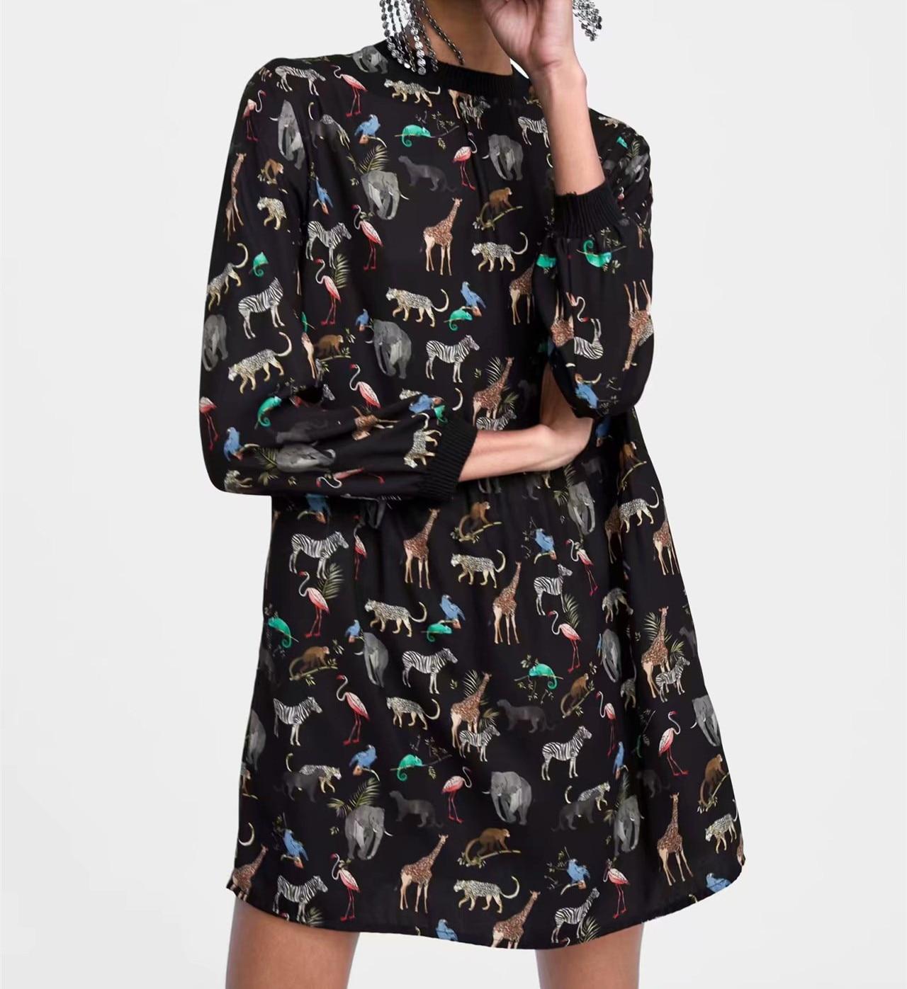 Mini Robe Noire à Imprimé Animal JUNGO