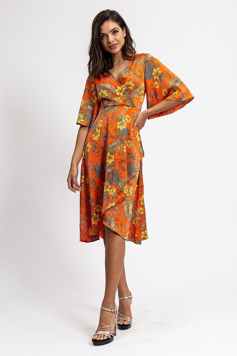 Robe Midi Orange Fleurie MONICA