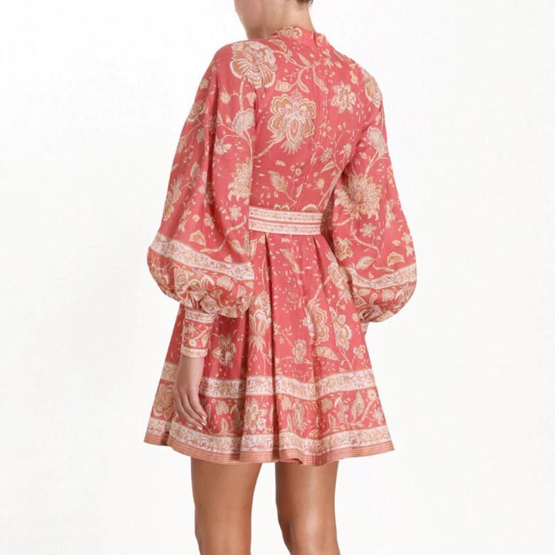 Robe Boutonnée Florale à Manches Lanternes GERO