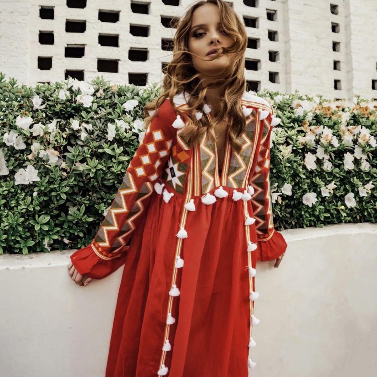 Robe Longue Bohème à Pompons MIRTA 3 Coloris