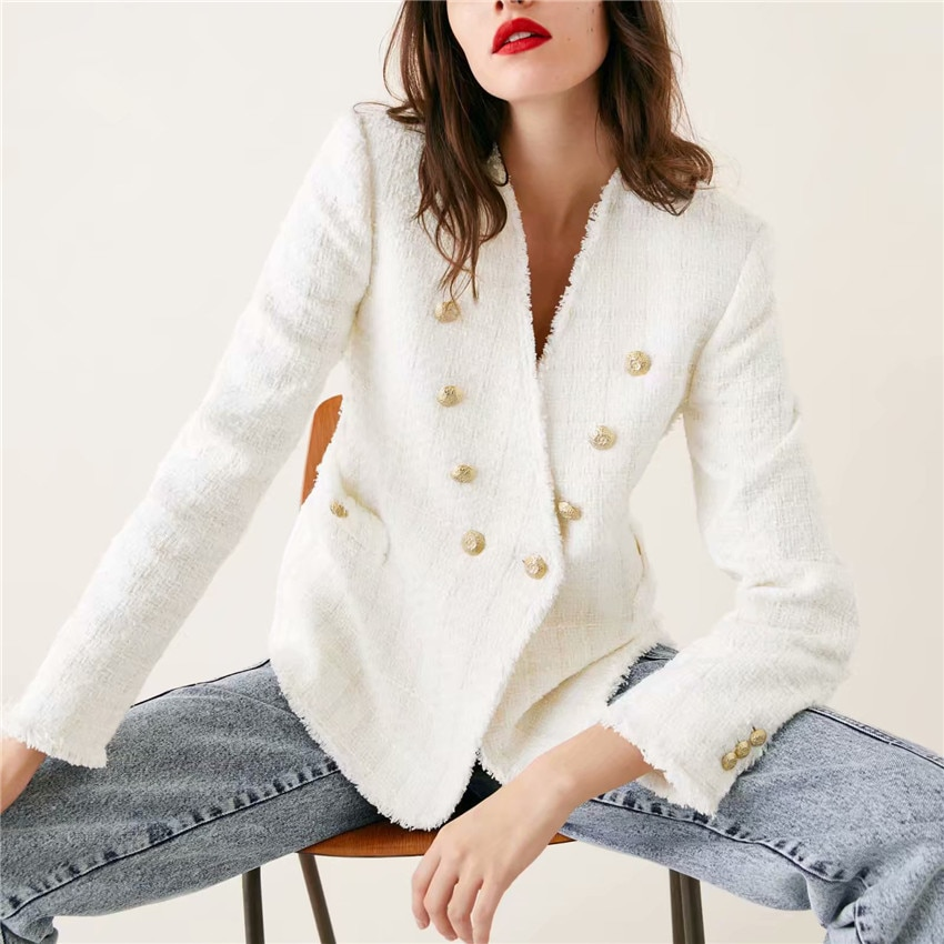 Blazer Tweed Blanc à Double Boutonnage CHIC