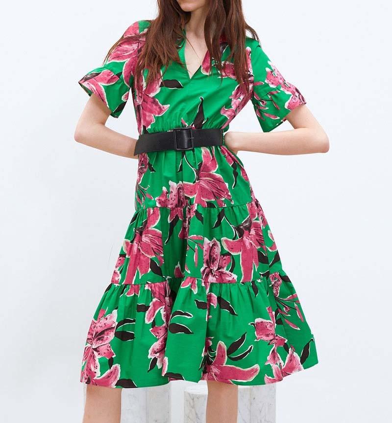 Robe Mi Longue Verte Tropicale à Volants BONITA