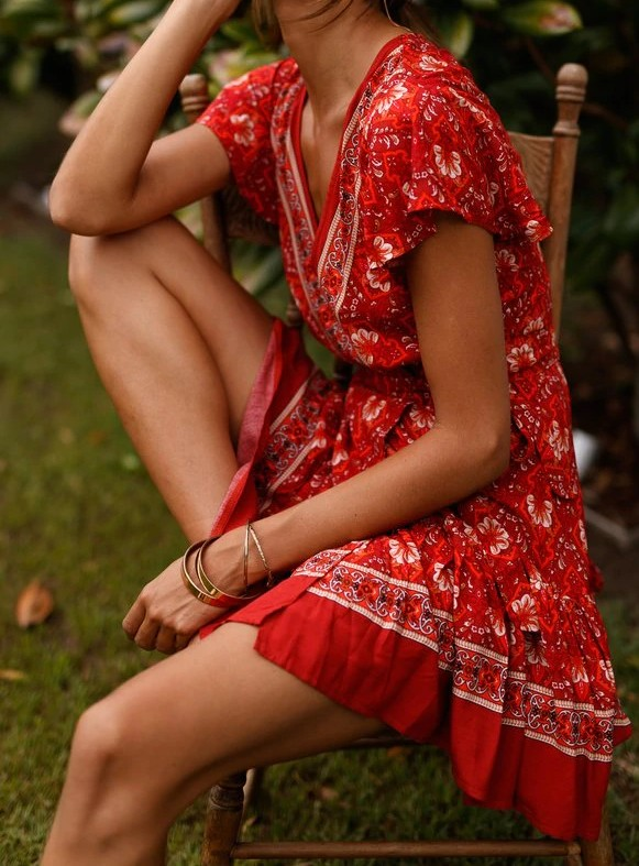 Robe Courte Fleurie Boho BONNIE Différents Coloris