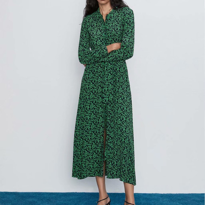 Robe Longue Verte Fleurie Ceinturée SABRINA
