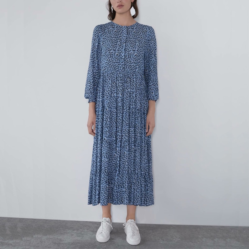 Robe Bleue Casual Loose Imprimée NADY