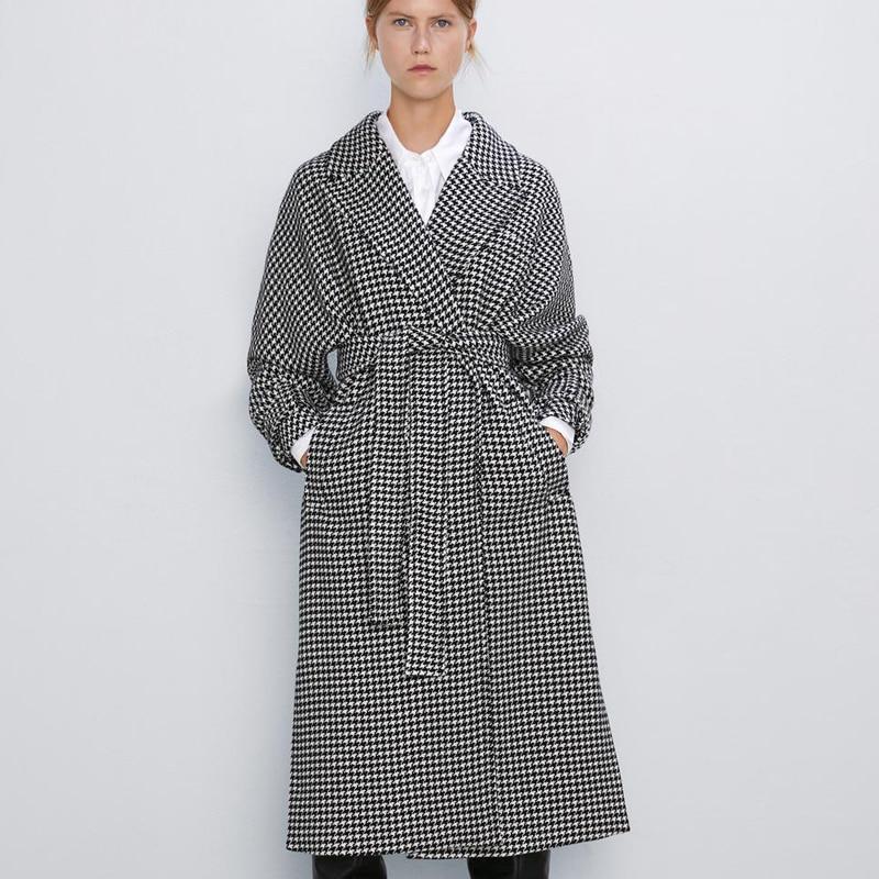 Manteau Trench Coat Rétro Pied de Poule VERINA